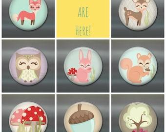 Woodland animal fridge magnets, cute fridge magnets, woodland creatures decor, set of magnets, cute animals kitchen decor, gift for toddler