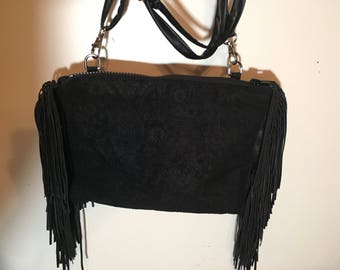 Suede  and leather fringe clutch/ cross body purse