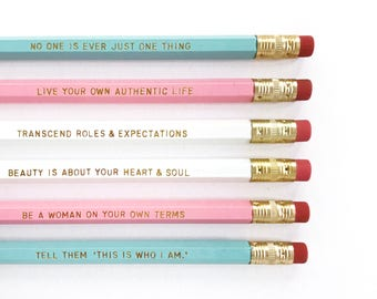 Laverne Cox Personalized Pencil set - Inspirational quotes pencil set - Feminist pencils - LGBTQ engraved pencils - gift idea under 15
