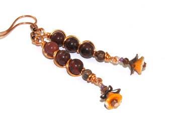 Copper Wire-Wrapped Jasper Earrings, Long Dangle Flower & Gemstone Jewelry
