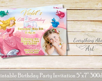Sleeping beauty invitation, Princess Aurora invitation, Aurora birthday, Sleeping beauty birthday, Sleeping beauty party, Aurora party
