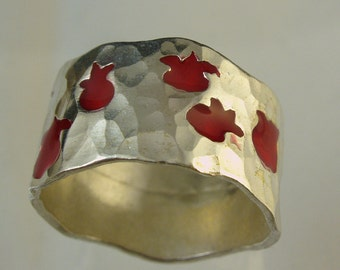 Pomegranate  ring, silver ring, Made To Order  ring, anniversary, gift, JEWELS OF JOY