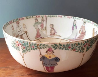 Hand Painted Royal Doulton Nursery Rhyme Bowl Queen of Hearts