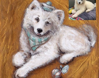 Puppy Portrait - Samoyed Puppy Painting from Photo - Custom Pet Portraits from Photo - Animal Paintings, Animal Lover Gift, Dog Illustration