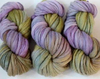 "Hand dyed yarn thick and Thin Yarn hand spun merino ""Lavender Wash"", knitting yarn, dollmaking, weaving, crochet"