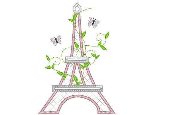 Romantic Eiffel Tower Paris Machine Embroidery Applique