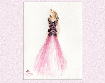 Watercolor painting fashion illustration, Pink black ball gown dress original art wall watercolour
