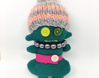 Handmade PEACHish art doll, quirky gift, pearl necklace, leather belt, button eyes, knitted hat