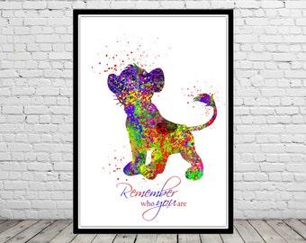 The Lion King inspired, Simba, Remember who you are, Watercolor Simba, Simba print, Kids Room Decor, Poster, print (1583b)