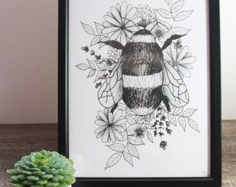 Botanical Bee Print