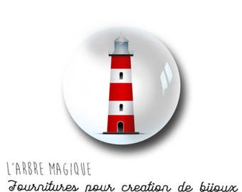 2 cabochons craft sea glass 16 mm M999 lighthouse