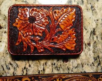"Western ""Sheridan"" floral tooled belt buckle"
