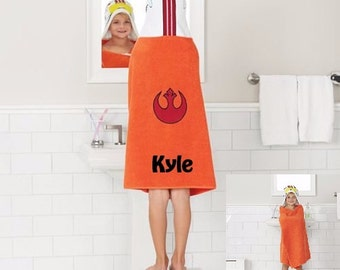 Star Wars X WING Pilot Inspired Hooded Towel Bath Wrap - Personalized