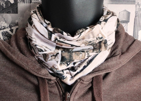 Neck tube, Snood in a classic car print in sepia