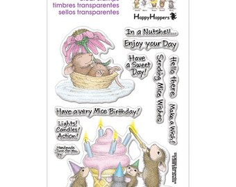 Stampendous MICE WISHES Clear acrylic stamp set mouse flower cupcake - CS075