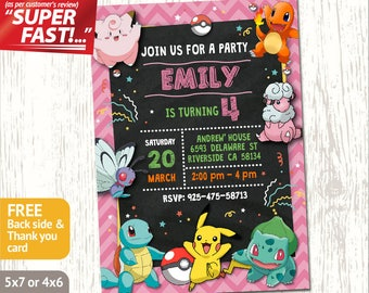 POKEMON BIRTHDAY INVITATION Girl Pokemon Invitation Party Printable Custom