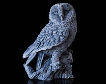 Marble Owl Garden Scupture Russian Art Miniature Handmade Animal Statuette Collectible Owl Bird Figurine