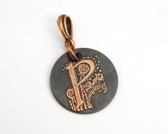 Small round P pendant, round etched copper letter jewelry, optional necklace, 22mm