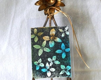 Original floral aceo, watercolor abstract gift tag, pen and ink flowers, with ribbon teal turquoise blue, botanical art, mini drawing, sfa
