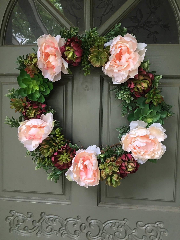 Artificial Succulent And Pink Flower Wreath Front Door