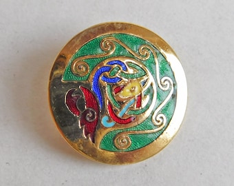 Vintage Tara Ware Guilloche Enamel Celtic-Design Brooch Made in Ireland - Round Goldtone Abstract Design - Bright Colors - Green Red Yellow