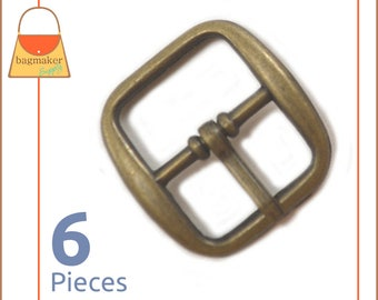 "3/4 Inch Rounded Square Center Bar Pin Buckle, Antique Brass / Bronze Finish, 6 Pack, Handbag Purse Making, .75 Inch, .75"", 3/4"", BKS-AA085"