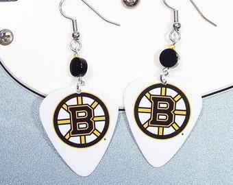 Boston Bruins Earrings - Guitar Pick Earrings
