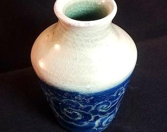 Delicate wood fired porcelain bud vase