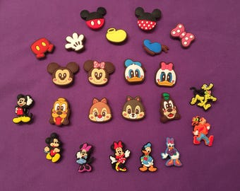 Mickey Mouse Clubhouse Shoe Charms for Crocs, Silicone Bracelet Charms, Party Favors, Jibbitz, Mickey and Minnie PVC Necklaces