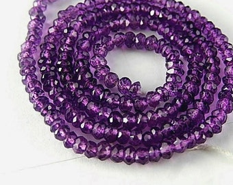 Amethyst Gemstone.  Faceted Rondelles, 3mm. Semi Precious Gemstone. Your Choice Strand. (aAM3)