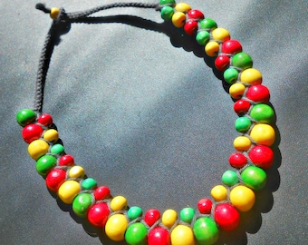 "Necklace ""Rasta"" woven macrame with wood beads"