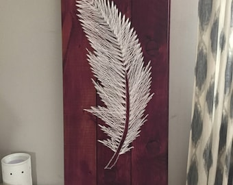 Feather String Art, Feather Art, String Art, Feather Wooden Sign, Feather Gifts,Purple Feather Art, Purple Wooden Sign