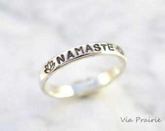 NAMASTE ring, Lotus flower ring, Yoga ring, Zen ring - Zen gift for her - Yogi ring, Yoga jewelry, 8 gauge THICK 925 sterling silver ring