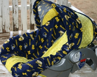 michigan wolverines and yellow minky infant car seat cover and hood cover