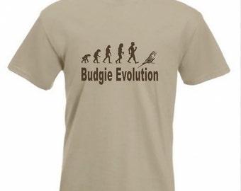Evolution To Budgie t-shirt Funny Budgerigar T-shirt sizes Sm TO 2XXL