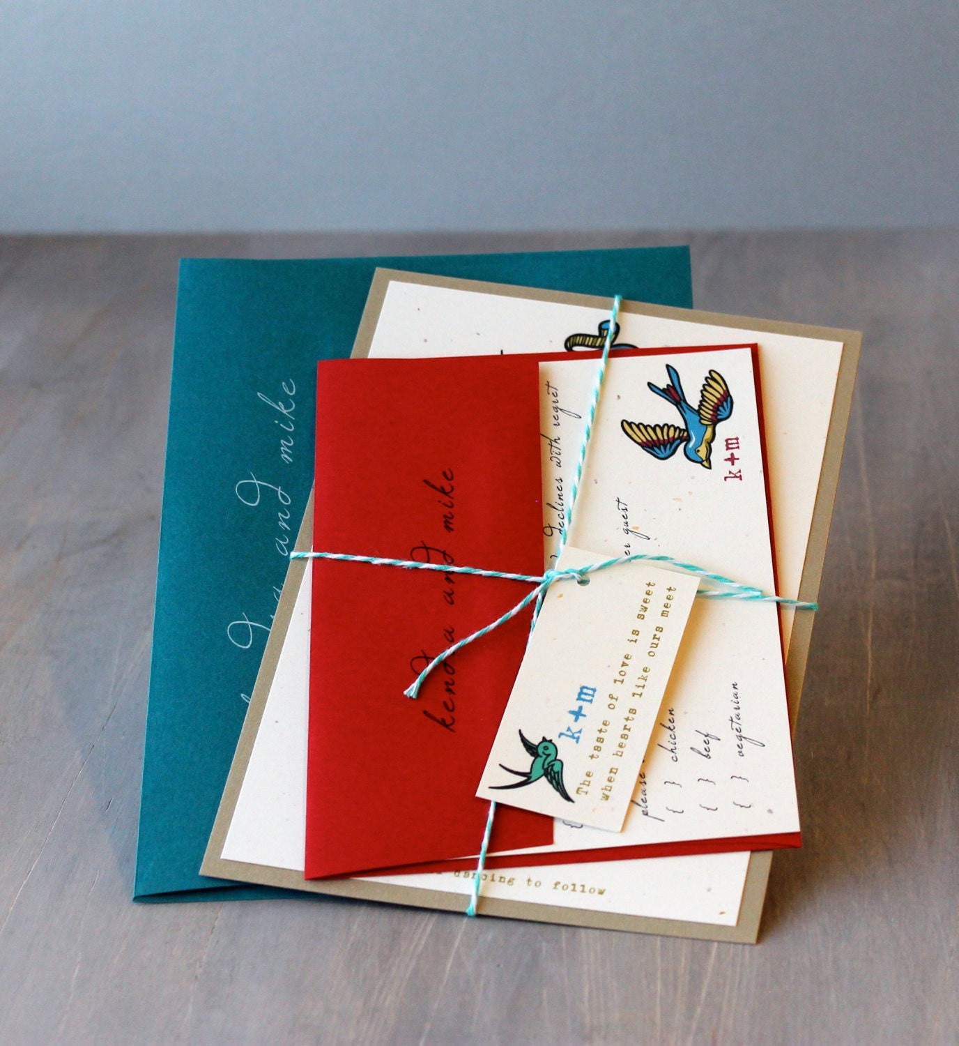 Rock and Roll Wedding Invitations Teal and Red Wedding