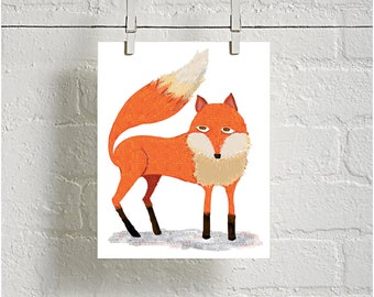 Cool Woodland Fox Digital download print for Bedroom or Nursey Woodland Decor Great gift for Baby shower
