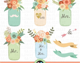 "Mason jar Clipart ""WEDDING MASON JAR""clip art pack, Vintage Flowers,Hand Draw,Wedding Flora,Wedding invitation Instant Download Wf026"