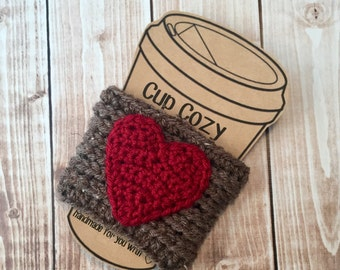 Valentine's Day Coffee Cup Cozy/Coffee Cup Cozies/Heart Coffee Cup Cozy/Crochet Coffee Cup Cozy in Barley and Cranberry- MADE TO ORDER