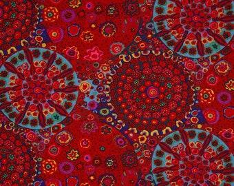 Kaffe Fassett Millefiore in Red; Rowan Westminster Fibers #GP92; 1/2 yard woven cotton fabric