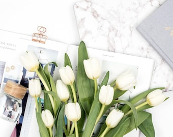 Square Styled Stock Photography | Flatlay Image | Spring Tulips and Marble Details | Styled Photography | Digital Image