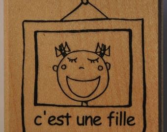 Rubber stamp mounted on wood - baby - it's a girl