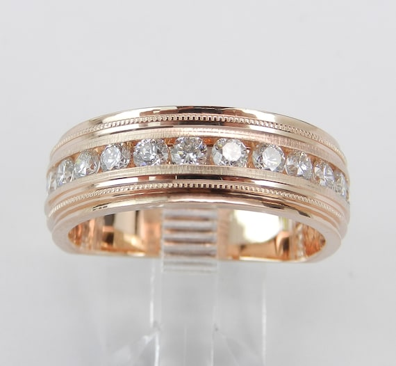 Mens Rose Gold 1.00 ct Diamond Wedding Ring Anniversary Band Size 10.25