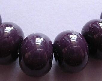 Lampwork Beads Purple Handmade Glass Ericabeads Eggplant Spacers (6)