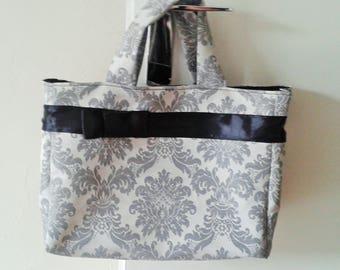 Bag baroque grey and black ribbon