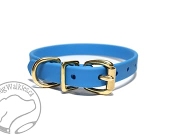 """NEW- Caribbean Blue - 5/8"""" (16mm) Wide  - Small Biothane Dog Collar - Leather Look and Feel - Custom Size - Stainless  or Brass Hardware"""