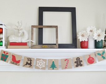 Merry Christmas Banner - Traditional Christmas Images Garland - Photo Prop - Christmas Dectoration - Christmas Banner - Christmas Sign