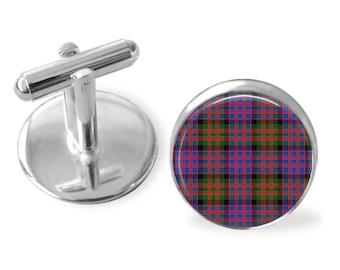 MACDONALD TARTAN CUFFLINKS / Scottish Tartan Cuff Links / Tartan Jewelry / Personalized Gift  / Ancestral Jewelry / MacDonald  Clan Plaid