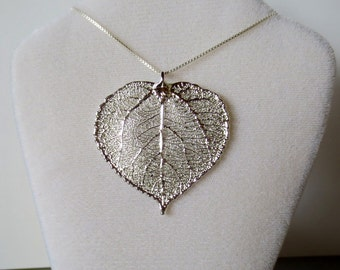 Silver Aspen Leaf Necklace, Genuine Aspen Leaf Pendant, Silver Aspen Leaf Necklace, Aspen Leaf Charm, Nature Jewelry, Silver Dipped Leaf