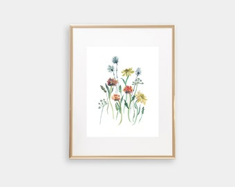 Watercolor Wildflowers, Watercolor Print, Watercolor Floral